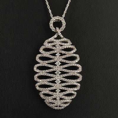 Sterling Silver Cubic Zirconia Ribbon Motif Pendant Necklace