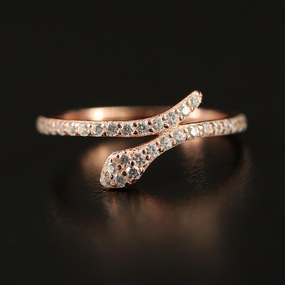 Sterling Silver Cubic Zirconia Snake Bypass Ring