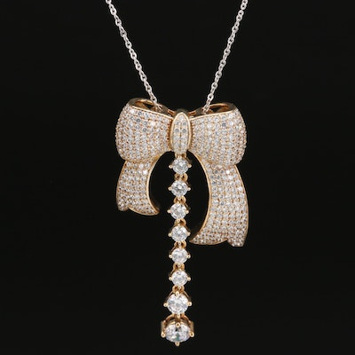Sterling Cubic Zirconia Bow and Graduated Drop Pendant Necklace