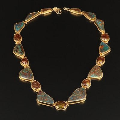 22K Bezel Set Fire Agate and Opal in Matrix Freeform Necklace