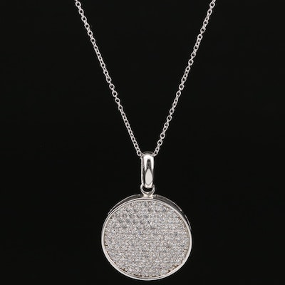 Sterling Silver Pavé Cubic Zirconia Pendant Necklace