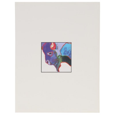 John Nieto Serigraph of Buffalo in Profile, circa 1996