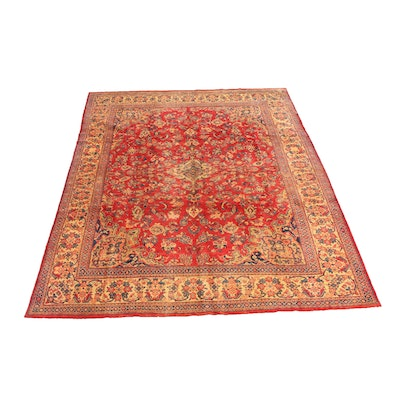 8'8 x 12'3 Hand-Knotted Persian Mahal Rug, 1960s
