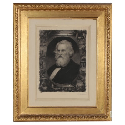 "William Edgar Marshall Portrait Etching ""Henry W. Longfellow,"" 1881"