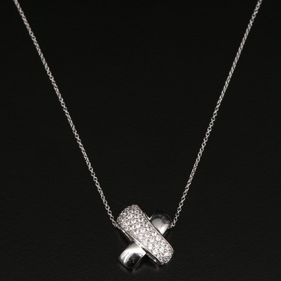 Sterling Cubic Zirconia 'X' Pendant Necklace