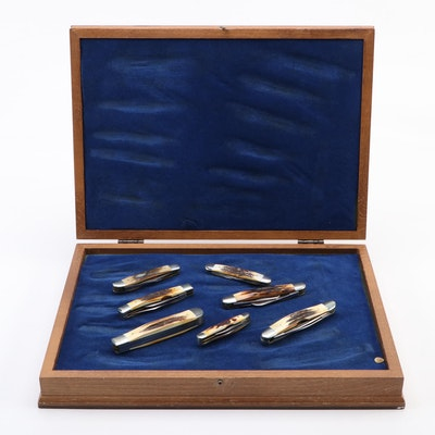 1978 Case U.S.A. Pocket Knives with Wooden Collector's Case