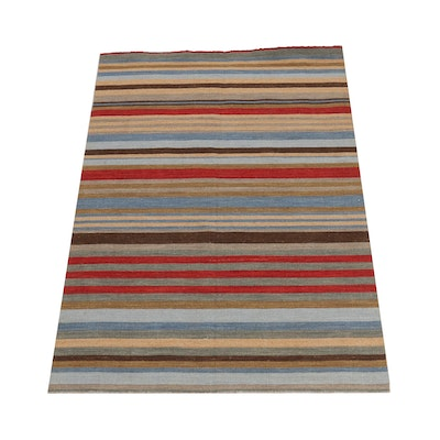 4'7 x 6'7 Handwoven Indo-Turkish Kilim Rug