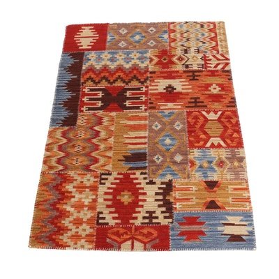 5'4 x 7'7 Handwoven Turkish Kilim Patchwork Style Rug