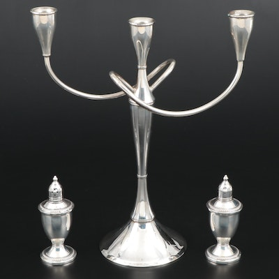 International Sterling Silver Convertible Candelabra with Sterling Shakers
