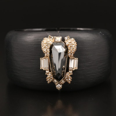 Alexis Bittar Lucite and Cubic Zirconia Hinged Cuff