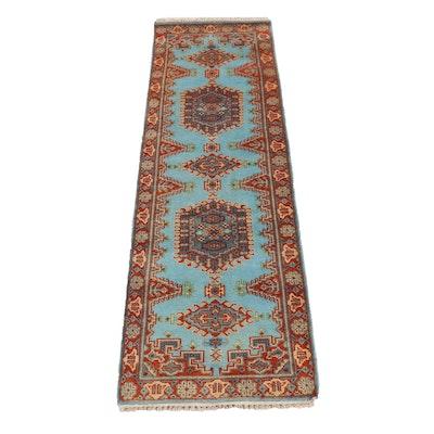 2'7 x 8'4 Hand-Knotted Indo-Caucasian Kazak Runner Rug