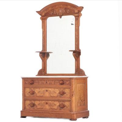 Victorian, Neo-Grec Walnut and Burl Walnut Dresser, Mid to Late 19th Century