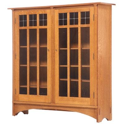 Stickley Arts & Crafts Quarter and Flat Sawn Oak Double Door Bookcase