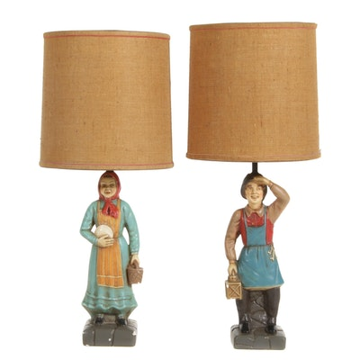 Quartite Creative Chalkware Figural Table Lamps, 1962