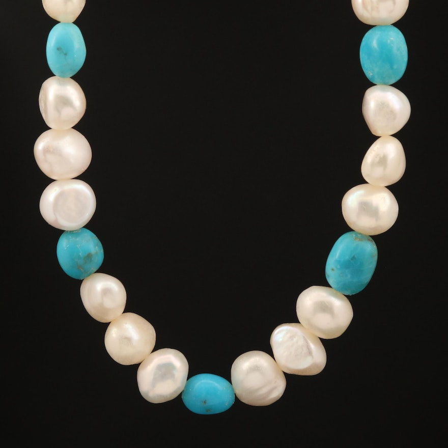 Pearl and Turquoise Beaded Endless Necklace