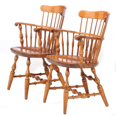 Pair of Nichols & Stone Co. Maple Sack-Back Windsor Armchairs, 20th Century