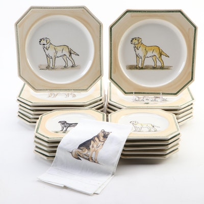 CE Corey  Dog Collection Portuguese Ceramic Dinnerware, Late 20th-Early 21st C.