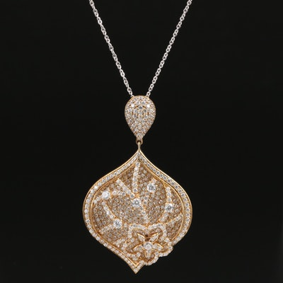 Sterling Silver Cubic Zirconia Floral Motif Pendant Necklace
