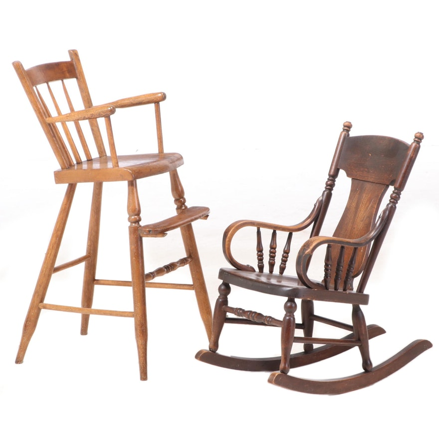 Victorian Oak Children's Chairs, Early 20th Century