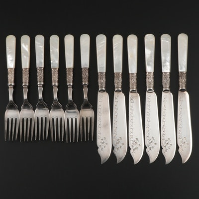 Harrison Fisher Silver Plate and Mother-of-Pearl Forks and Fish Knives