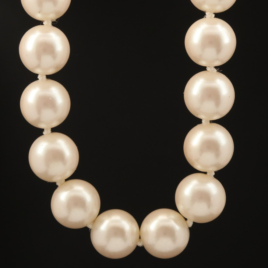 Endless Faux Pearl Necklace