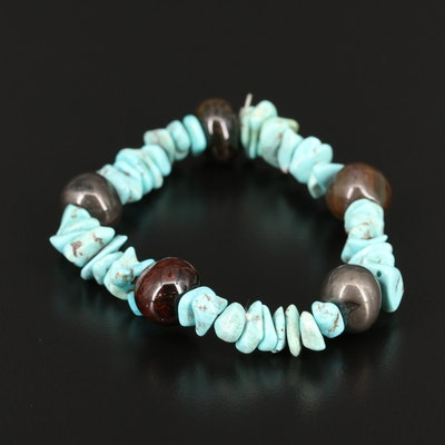 Turquoise and Agate Stretch Bracelet