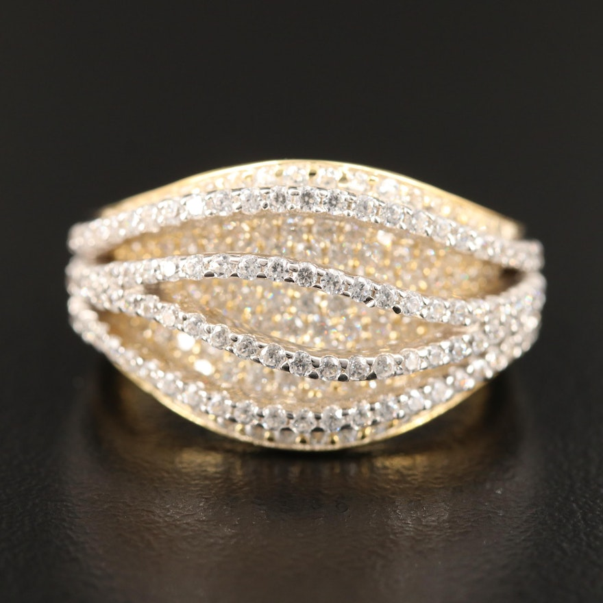 Sterling Silver Cubic Zirconia Domed Contour Ring