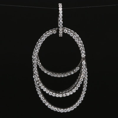 Sterling Silver Cubic Zirconia Pendant Featuring Concentric Circle Design