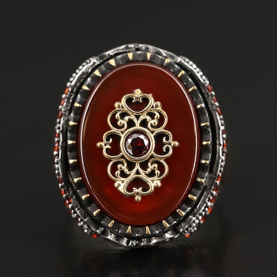 Sterling Silver Carnelian and Garnet Ring