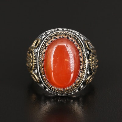 Sterling Silver Carnelian Ring with Gold Accent Details