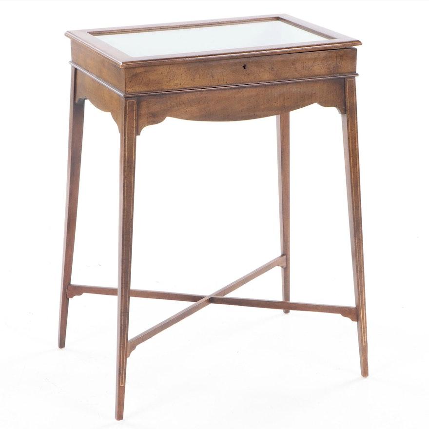 Replica Victorian Mahogany and String-Inlaid Vitrine Table