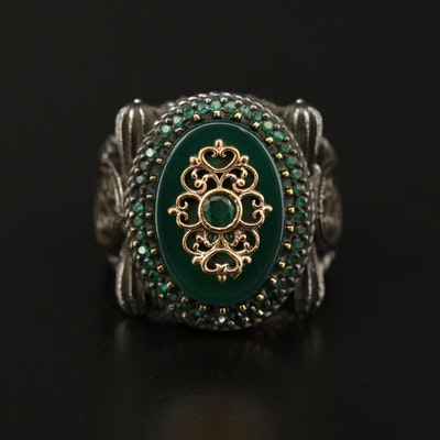 Sterling Silver Chalcedony and Cubic Zirconia Ring with Scroll Work Detail