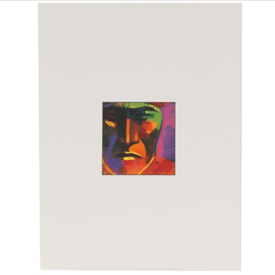 John Nieto Serigraph of Native American Portrait, circa 1996