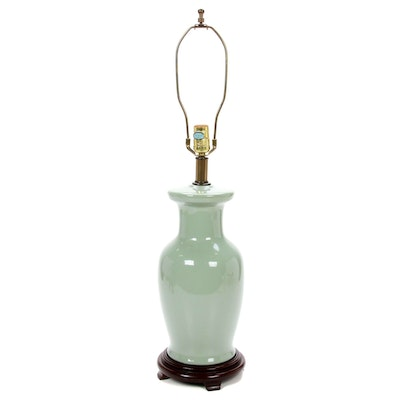 Celadon Vase Shape Ceramic Table Lamp, Mid to Late 20th Century
