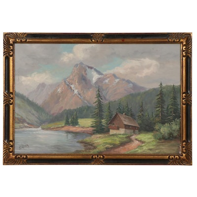 Mountainside Cabin Landscape Oil Painting, Late 20th Century