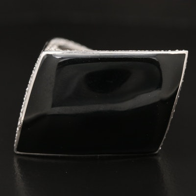 Sterling Silver Resin and Pavé Cubic Zirconia Ring with Asymmetrical Design
