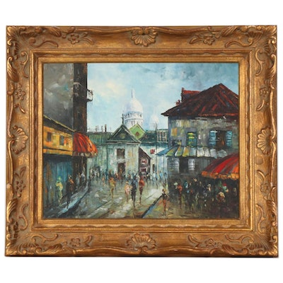 W. Vanicci Impressionist Style Oil Painting of Cityscape, 20th Century