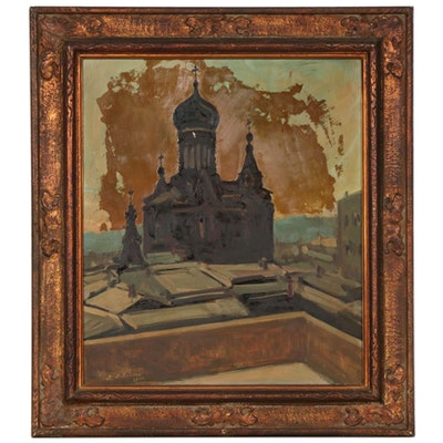 Oil Painting of Eastern Orthodox Church, Early to Mid 20th Century