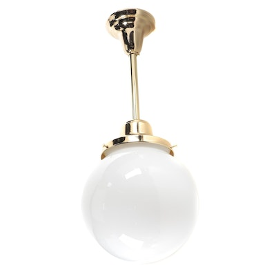 """Rejuvenation """"Rose City"""" Fitted Rod Pendant Light with Globe Shade"""