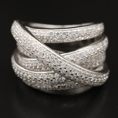 Sterling Silver Cubic Zirconia Crossover Band Ring