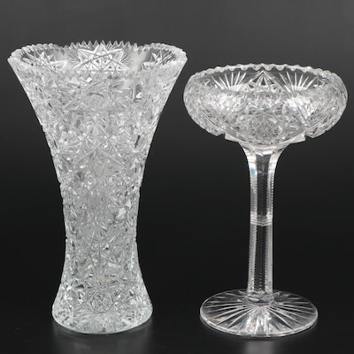 Brilliant Cut Glass Vase and Pedestal Bowl