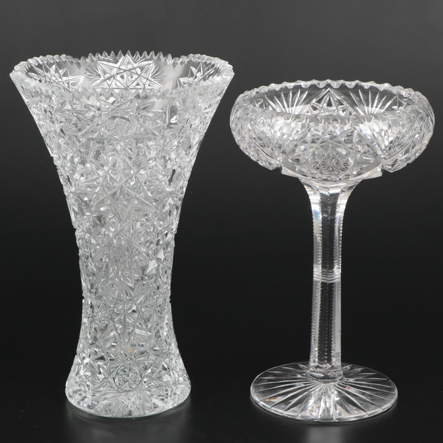 Brilliant Cut Glass Vase and Pedestal Bowl