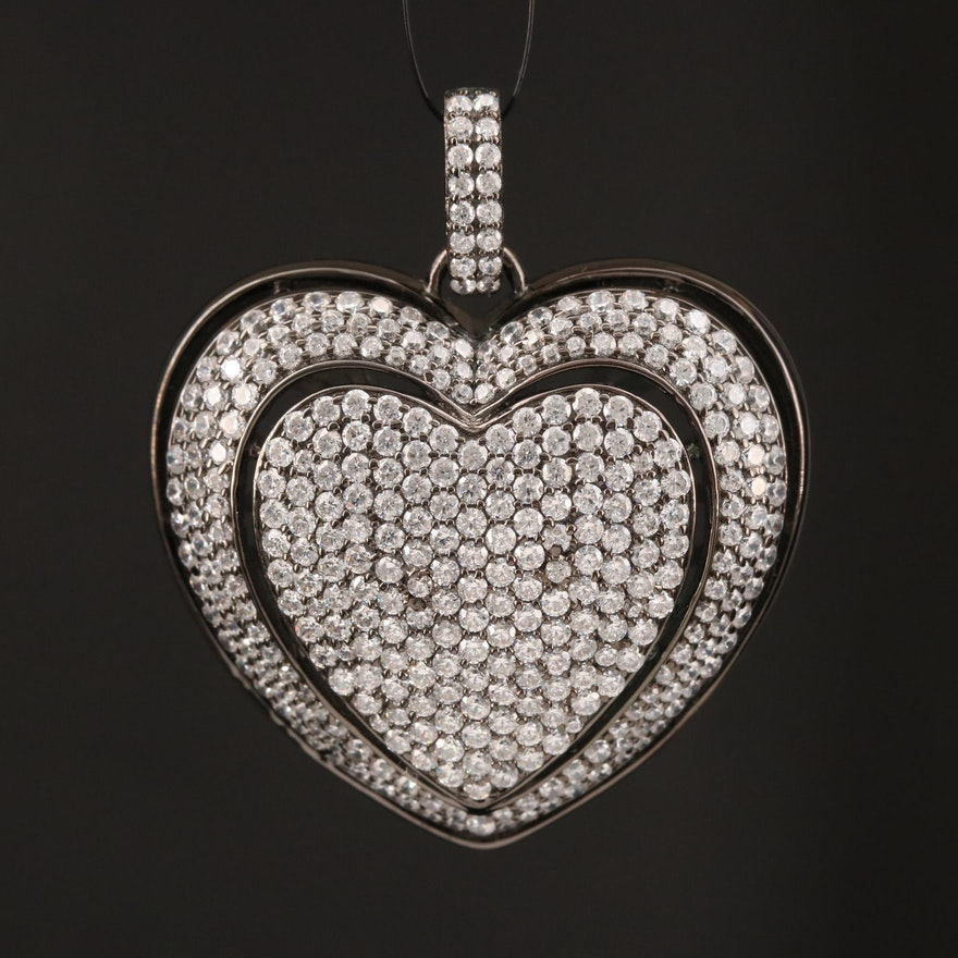 Sterling Silver Pavé Cubic Zirconia Puff Heart Pendant