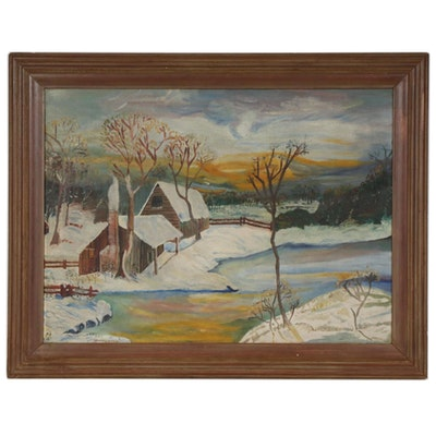 Winter Countryside Cabin Oil Painting, 1950