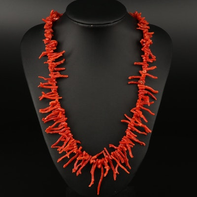 Graduated Branch Coral Necklace