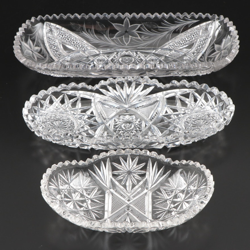 Brilliant Cut Glass Celery Dishes and Relish Dish
