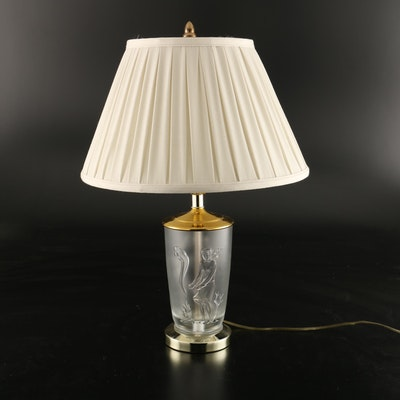 Glass Table Lamp with Scenic Reliefs