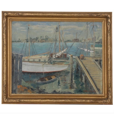 Esther Nusbaum Oil Painting of Ships Docked in Harbor, Early-Mid 20th Century