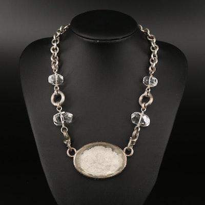 Stephen Dweck Sterling Rock Quartz Crystal Floral Pendant Necklace