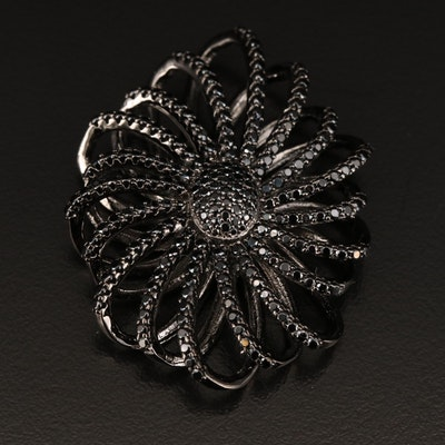 Sterling Silver Spinel Flower Pendant